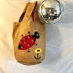 Vintage 50s 60s Squirrels' Nest Burlap Ladybug Bag